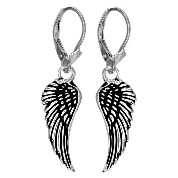 Wing Charm Earrings in Sterling Silver, 21mm