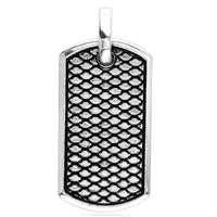 Python Reptile Texture Dog Tag Pendant in Sterling Silver, 33mm