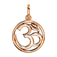 Circle Yoga Ohm, Om, Aum Charm, 20mm in 14k Pink Gold
