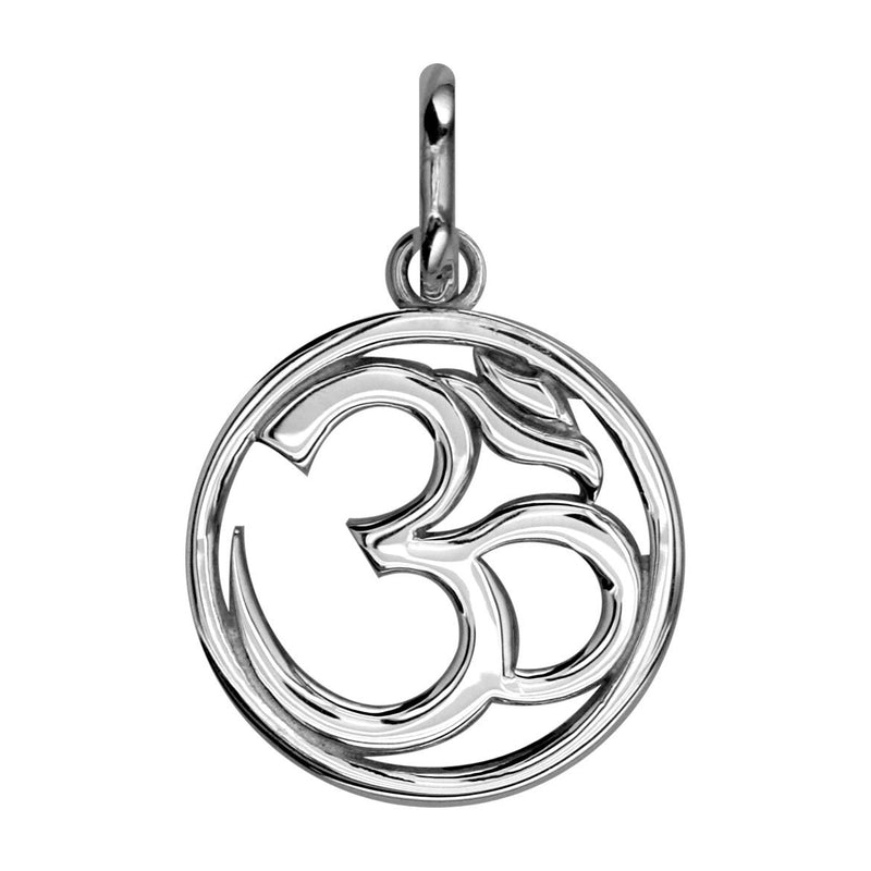 Circle Yoga Ohm, Om, Aum Charm, 20mm in 14k White Gold