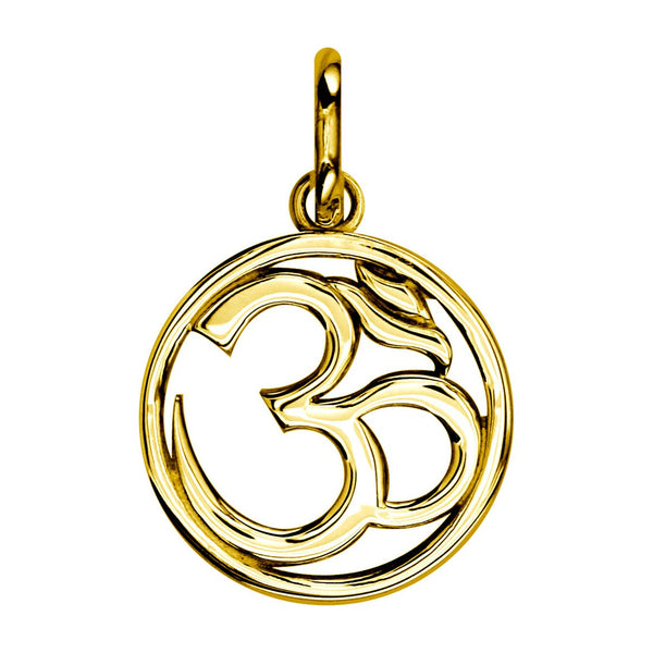 Circle Yoga Ohm,Om, Aum Charm, 20mm #4930 in 18K yellow gold