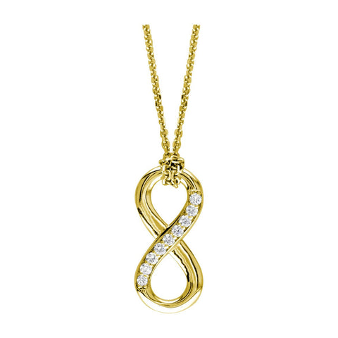 "Medium Diamond Flowing Infinity Charm with Knotted Chain,17"" # 4932 in 14K yellow gold"