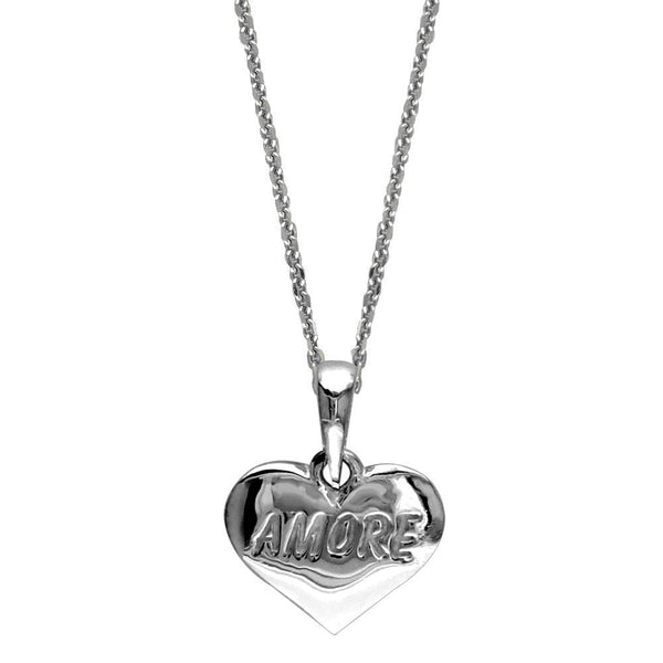 Small Amore Engraved Heart Charm and Chain in Sterling Silver