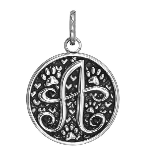 A - Large Solid 925 Sterling Silver with Black Finish Szira Collection Paw and Hearts Monogram Initial A Charm, Pendant, Key Ring, for Dog, Cat or Person