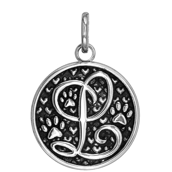 L - Large Solid 925 Sterling Silver with Black Finish Szira Collection Paw and Hearts Monogram Initial L Charm, Pendant, Key Ring, for Dog, Cat or Person