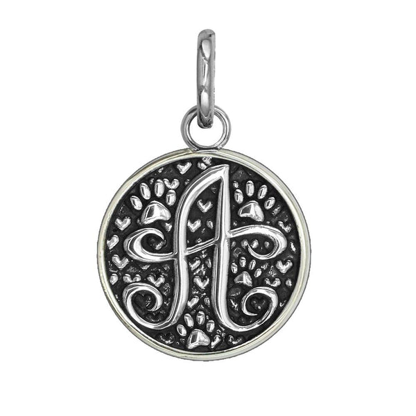 A - Medium Solid 925 Sterling Silver with Black Finish Szira Collection Paw and Hearts Monogram Initial A Charm, Pendant, Key Ring, for Dog, Cat or Person