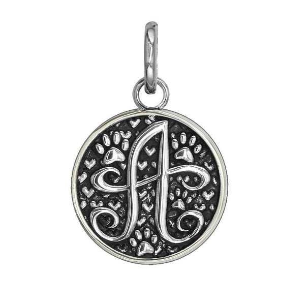 Medium Solid Sterling Silver with Black Finish Szira Collection Paw Hearts Monogram Initials Charm,Pendant,Tag,Key Ring for Dog,Cat Or Person