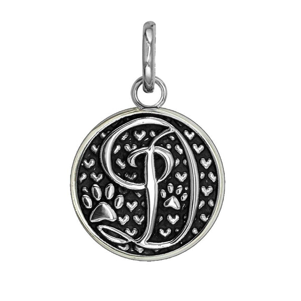 D - Medium Solid 925 Sterling Silver with Black Finish Szira Collection Paw and Hearts Monogram Initial D Charm, Pendant, Key Ring, for Dog, Cat or Person
