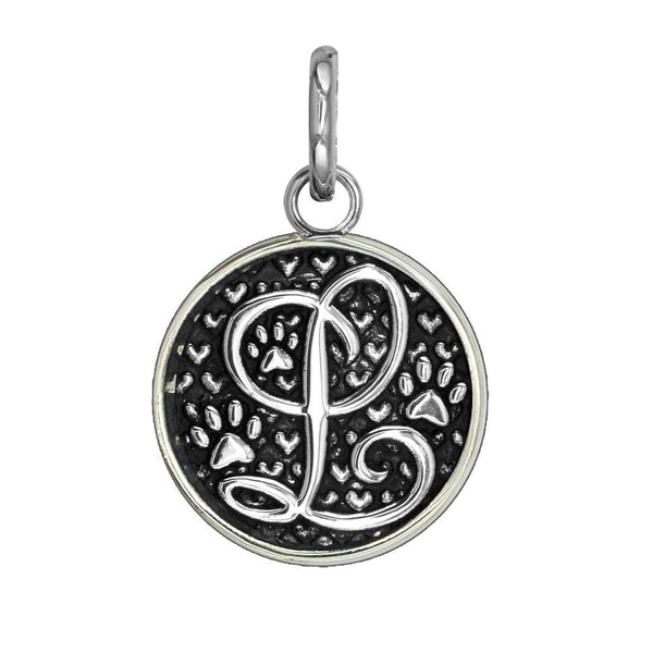L - Medium Solid 925 Sterling Silver with Black Finish Szira Collection Paw and Hearts Monogram Initial L Charm, Pendant, Key Ring, for Dog, Cat or Person