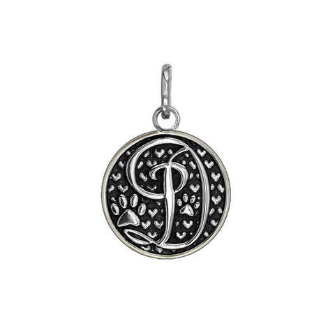 D - Small Solid 925 Sterling Silver with Black Finish Szira Collection Paw and Hearts Monogram Initial D Charm, Pendant, Key Ring, for Dog, Cat or Person
