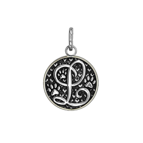 L - Small Solid 925 Sterling Silver with Black Finish Szira Collection Paw and Hearts Monogram Initial L Charm, Pendant, Key Ring, for Dog, Cat or Person