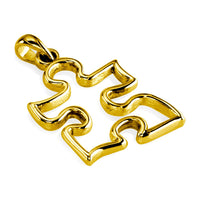 Mini Autism Awareness Open Puzzle Piece Charm in 14K Yellow Gold, 12mm