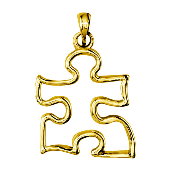18k Yellow Gold Medium Autism Awareness Open Puzzle Piece Charm, 20mm