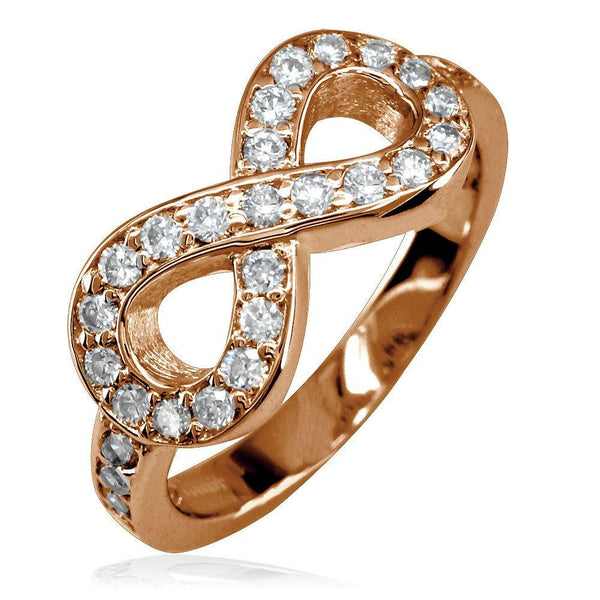 Diamond Infinity Ring in 14K Pink Gold, 0.70CT with Wall