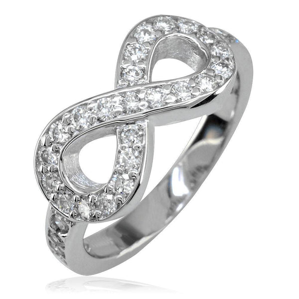 Diamond Infinity Ring in 14K White Gold, 0.70CT with Wall