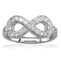 Infinity Ring in Sterling Silver and Cubic Zirconia with Wall