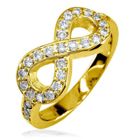 Diamond Infinity Ring in 14K Yellow Gold, 0.70CT with Wall