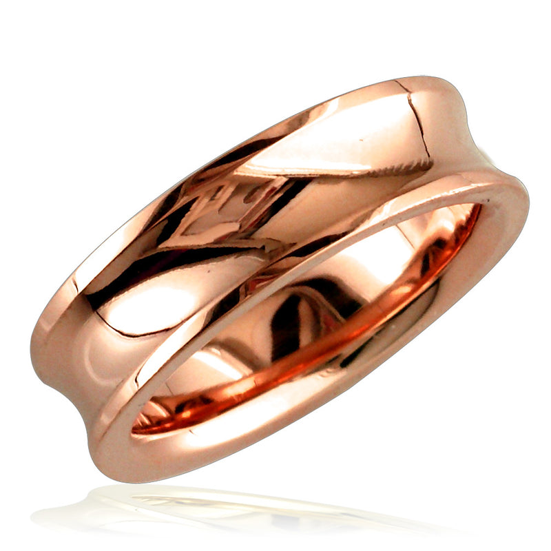Concave Wedding Ring,6mm in 18k Pink Gold, size 5