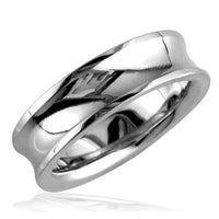 Concave Wedding Ring,6mm in Sterling Silver, size 7.5