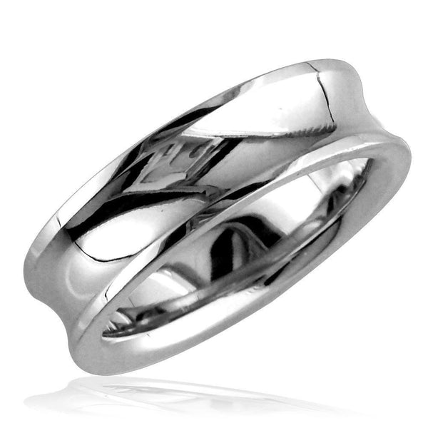 Concave Wedding Ring,6mm in 14k White Gold, size 5