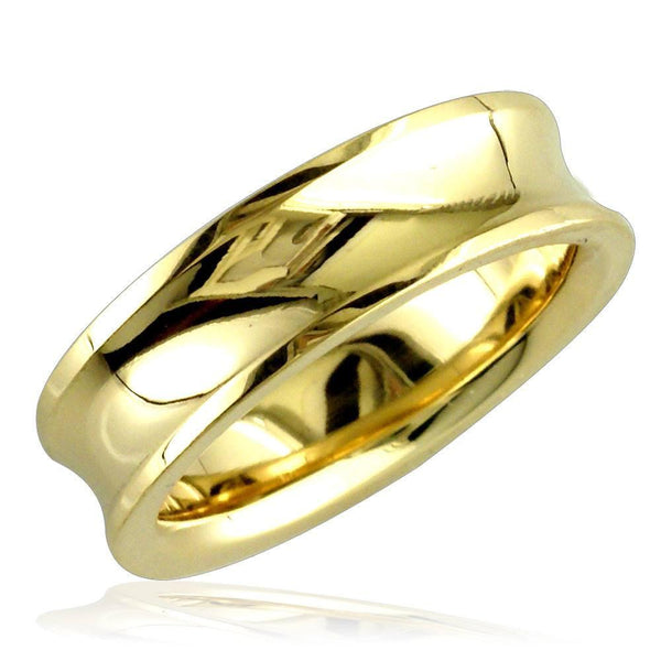 Concave Wedding Ring,6mm in 14k Yellow Gold, size 7.5