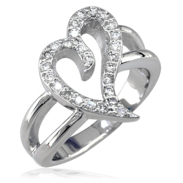 Wavy Diamond Heart Ring in 14K White Gold, 0.25CT