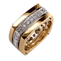 Wide 3 Row Mens Diamond Ring, 2 Tone 18K White and Pink Gold, 1.60CT