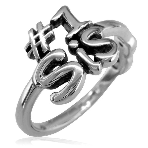 Sisters Double Infinity Ring, #1 Sis with Black in Sterling Silver