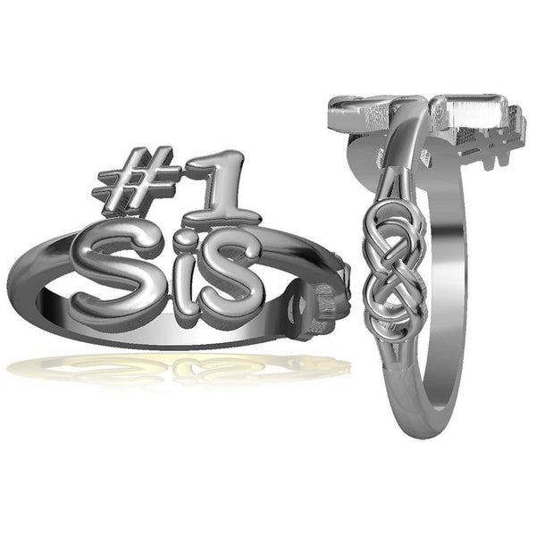 Sisters Double Infinity Ring, #1 Sis in Sterling Silver