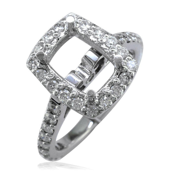 Emerald Cut Diamond Halo Engagement Ring Setting, 0.70CT in 14K White Gold