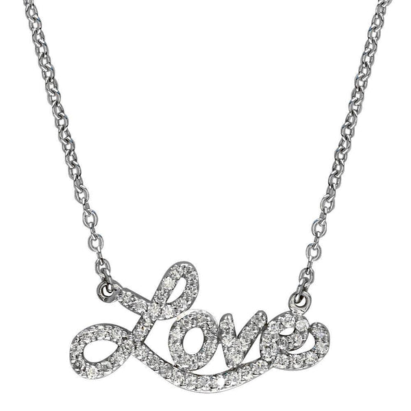 14K White Gold Diamond Love Necklace, 0.60CT, 17 Inches Total Length