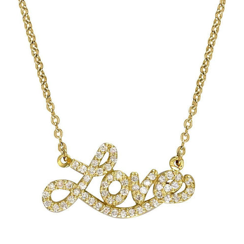 14K Yellow Gold Diamond Love Necklace, 0.60CT, 17 Inches Total Length