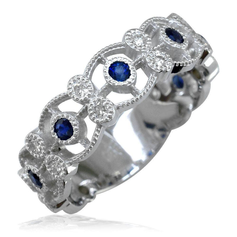 Vintage Style Sapphire and Diamond Ring in 14K White Gold, 0.20CT Sapphires, 0.40CT Diamonds