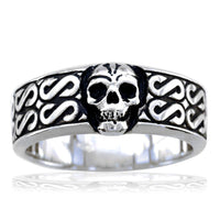 Mens Skull Band with Black, Plain Bottom, 9mm in Sterling Silver