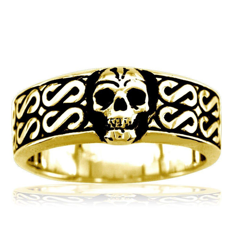 Mens Skull Band with Black, Plain Bottom, 9mm in 14K Yellow Gold