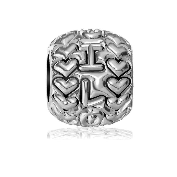 I Love You with Hearts Charm Bracelet Bead in Sterling Silver
