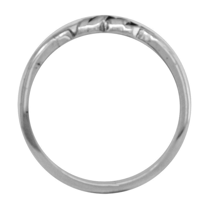 Thin Double Infinity Ring with Black in Sterling Silver