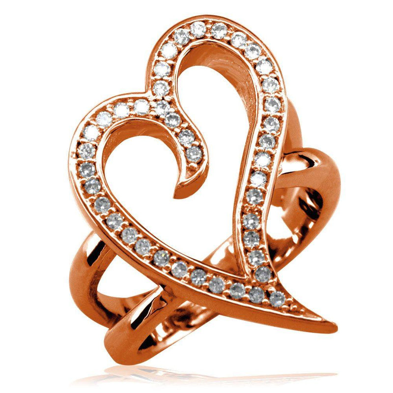 Large Wavy Diamond Heart Ring in 14K Pink Gold, 0.30CT