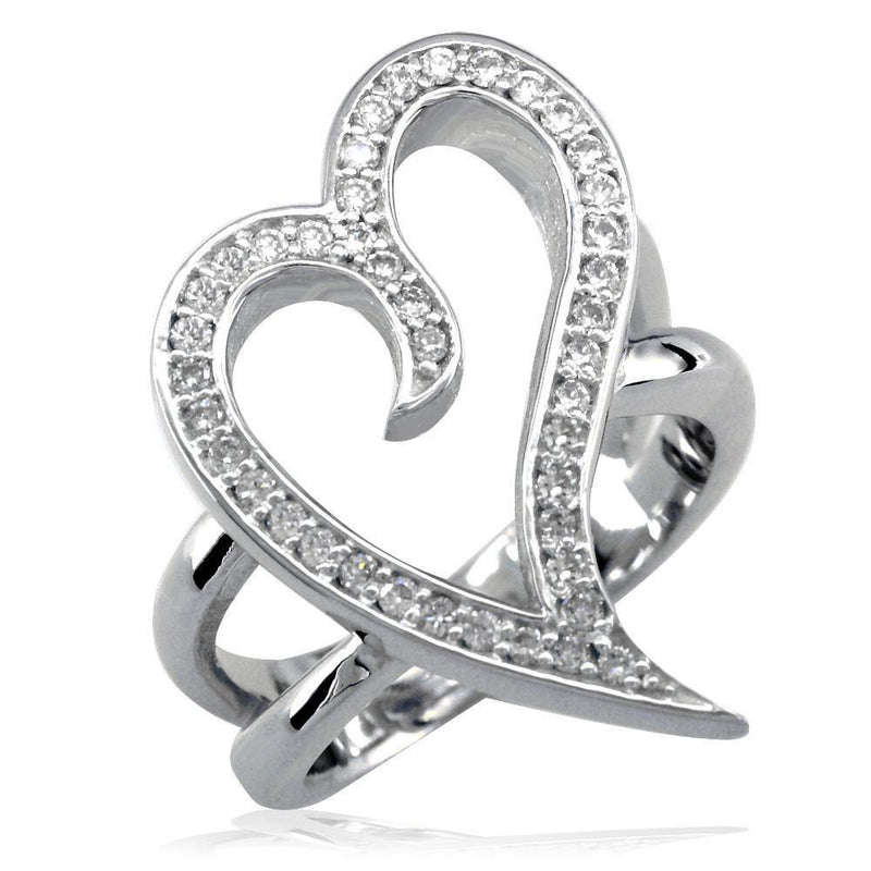 Large Wavy Cubic Zirconia Heart Ring in Sterling Silver, 0.30CT