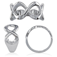 Wide Weaving Infinity Band, Halfway, 10mm in 14K White Gold
