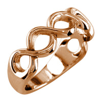 Weaving Infinity Band, Halfway, 6mm in 14K Pink Gold