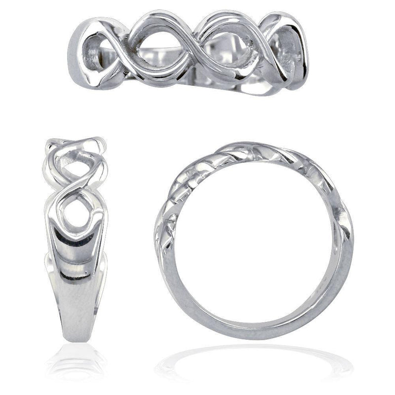 Weaving Infinity Band, Halfway, 6mm in 14K White Gold