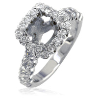 Diamond Halo Engagement Ring Setting in 14K White Gold, 1.64CT