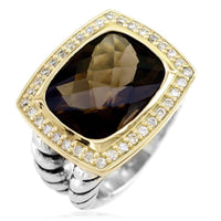 Large Smokey Topaz and Diamond Ring in Sterling Silver and 14K Yellow Gold