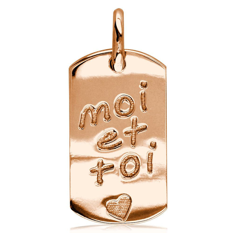 Moi Et Toi, Me and You, Dog Tag Charm in 14K Pink, Rose Gold