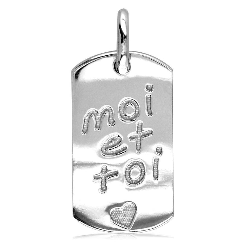 Moi Et Toi, Me and You, Dog Tag Charm in Sterling Silver