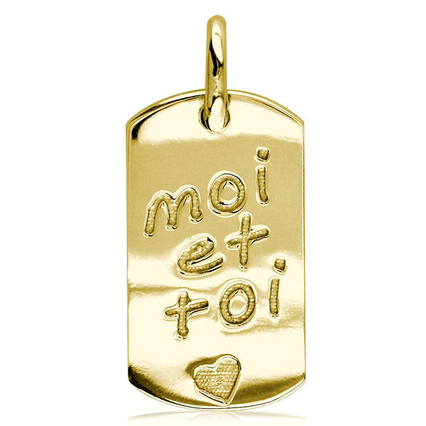 Moi Et Toi, Me and You, Dog Tag Charm in 18k Yellow Gold