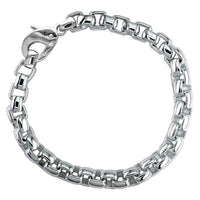 Extra Large Rounded Box Links Bracelet in 14K White Gold