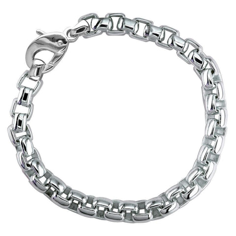 Extra Large Rounded Box Links Bracelet with Black in Sterling Silver