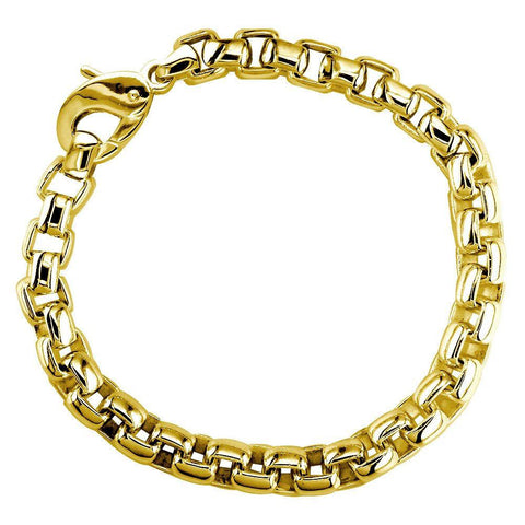 Extra Large Rounded Box Links Bracelet in 14K Yellow Gold